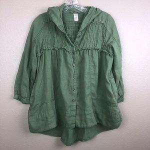 Free People XS Green Hooded Baby Doll Top